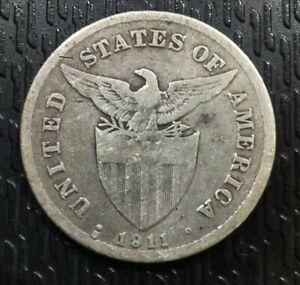 US-PHILIPPINES-1911-S-20-CENTAVOS