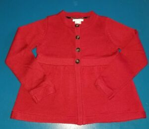 Jacadi-kids-girls-sweater-cardigan-size-8A-red-wool-cotton-buttons