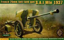 ACE 1/72 FRANCESE 25mm Anti-Carro PISTOLA S. A. L. MLE 1937 #72522