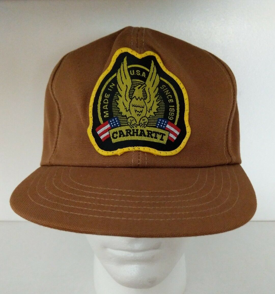 Carhartt Baseball Hat Cap Snapback Made in in in USA 1889 VTG 70s Canvas Eagle Patch 97485a