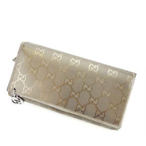 Gucci-Wallet-Purse-Long-Wallet-G-logos-Grey-Gold-Woman-Authentic-Used-Y2827