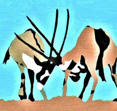 choice of 2 GEMSBOK blank greeting card SOUTH AFRICAN SAFARI wildlife print