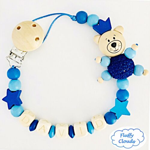 Personalized Dummy Clip Wooden Bead Pacifier Holder ~ Baby Boy ~ Bear