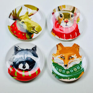 Woodland-Fox-Squirrel-Moose-Raccoon-6-034-Christmas-Appetizer-Side-Plates-Magenta