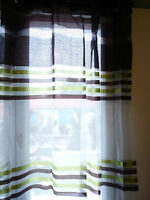 Rideaux Voilage Marron Et Vert 140x260 8 Oeillets