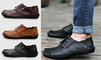 Mens shoes boots Casual Shoes Leather Lace Up Driving Moccasins loafer size New