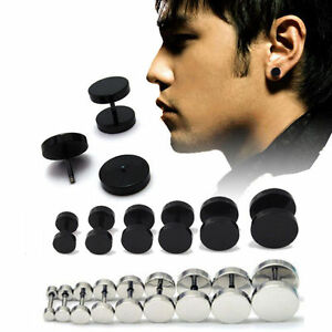 Image Is Loading 1pair Uni Mens Barbell Punk Gothic Stainless Steel