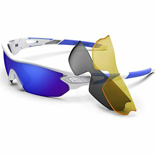 Torege Polarized Sports Sunglasses With 3 Interchangeable Lenes for Men Women Cy