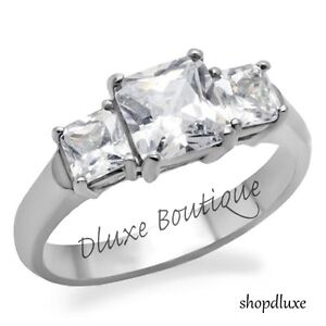 2-35-Ct-Princess-Cut-CZ-Stainless-Steel-Engagement-Ring-Band-Women-039-s-Size-5-10