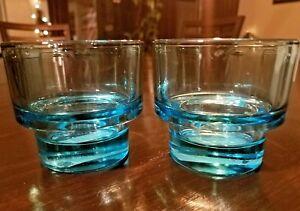 77c0121d4ee Details about 2 IKEA 5oz Aqua Blue Ice Blue Stackable Cocktail Whiskey  Drink Glasses Bar Decor