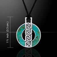 Celtic Ring Turquoise Corded Necklace Sterling Silver Necklace By Peter Stone