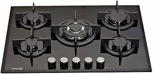 MILLAR-GH7051PB-70cm-5-Burner-Built-in-Gas-on-Glass-Hob-Cast-Iron-Stands-amp-Wok