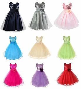 Kids-Baby-Fleur-Filles-parti-paillettes-robe-de-mariage-demoiselle-d-039-honneur-robes-de-princesse