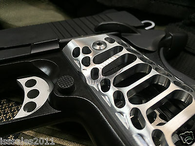 "1911 Compact Officer Grips Colt kimber Defender Brushed ""Cobra Skeleton"""