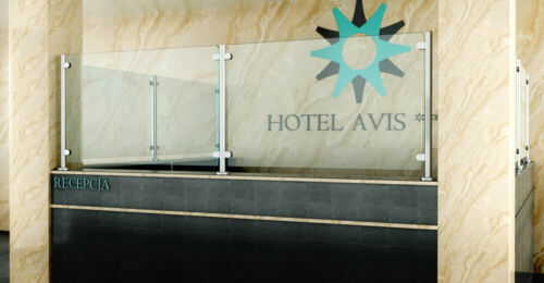 Cloison Glaswand Inox Poteau avec Support pour Comptoir de Boutique Bureau