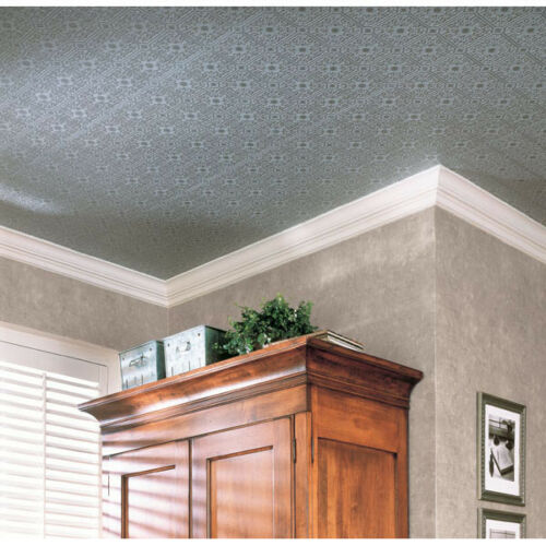 Small Ceiling Tile Raised White Textured Paintable Wallpaper 497-96291 FREE SHIP