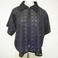 Lior Paris Lagenlook Black Sheer Checked Zip Jacket Blouse O/s (1x, 2x)