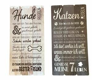 Shabby-Plankenschild-Dekoschild-Wandschild-Schild-Landhaus-Holz-Hunde-Katzen