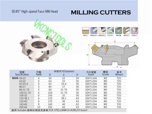 D63mm Indexable Face Milling Cutter 45Deg for SEHT1204//SEHT43AFFN Carbide Insert