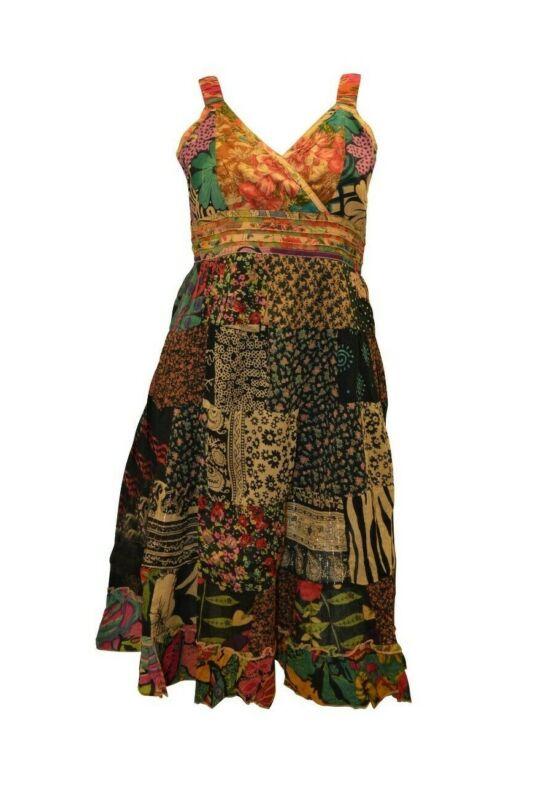 100% Baumwolle Boho Hippie Retro V-ausschnitt Lagenlook Blumen Kurz Kleid P24