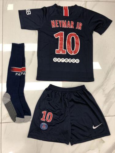 2018//19 Football PSG MBAPPE Short Sleeve Shirt for 3-14 Yrs Kids Kit Suit+Socks