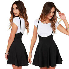Women Solid Black Skirt With Shoulder Straps Pleated Ladies Beach Dress M US