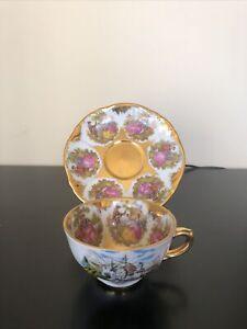Vintage Z & Co Tirschenreuth Bavaria Fragonard love story Demitasse Teacup Set