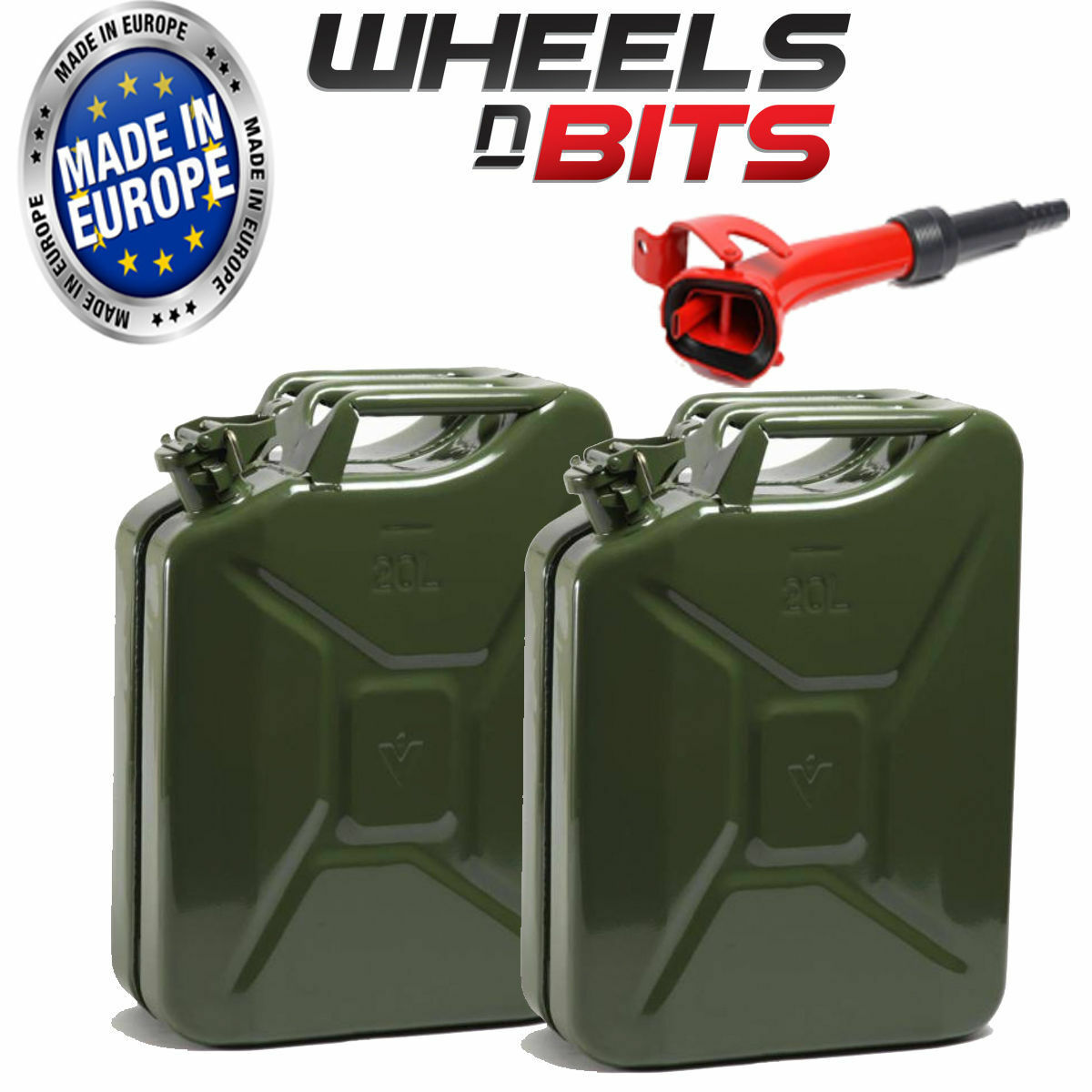 2X Alta Calidad Metal Energía  Recubierto green Jerry Can 20l Litro con Boquilla  order now lowest prices