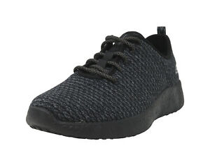 SKECHERS-Burst-Donlen-Black-Charcoal-Knit-Lace-Up-Sneakers-Fashion-Men-Shoes