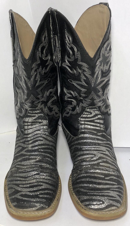 Roper Kids Black Zebra Print Cowboy Western Boots… - image 3