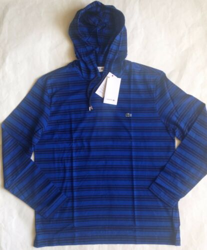 $98 NWT Mens Lacoste Regular Fit Striped Long Sleeve Hooded T-Shirt Hoodie 5 6 7