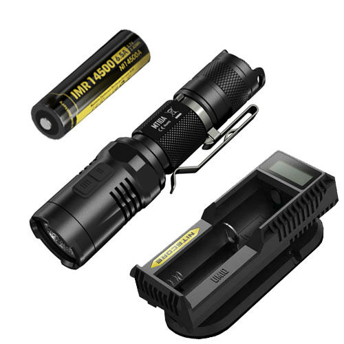 Nitecore MT10A Flashlight W UM10 Charger & IMR 14500 Battery