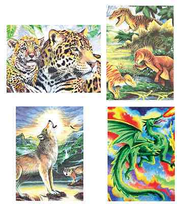 4 x A5 COLOUR PENCIL BY NUMBERS KITS DRAGON DINOSAUR WOLF JAGUAR CPNMIN110/1/2/6