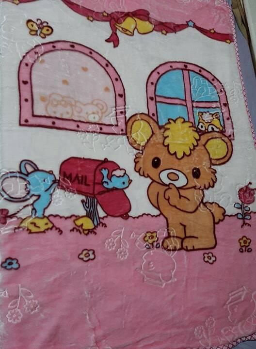 Fleece Baby Junior Single Bed Blanket in Pink Blue Spots 140x120 Multi List