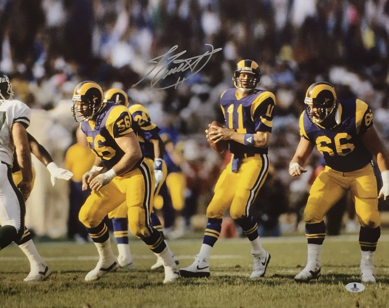 Jim Everett Signed Los Angeles Rams Football 16x20 Photo Beckett B11026