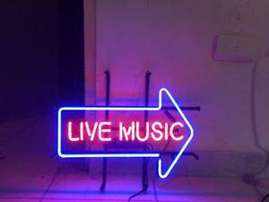 New live music bar wall decor neon light sign 17x14 ebay image is loading new live music bar wall decor neon light aloadofball Images