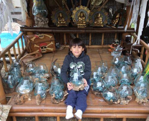 Wurzelholz Unikat Glas Vase Design Gamal Blumenvase Dekoration 2019