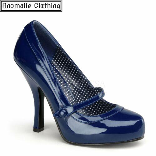 Pin Up Couture Navy Blue Patent Cutie Pie High Heel Pumps 1950s Retro Rockabilly