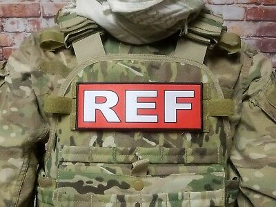 "3x8/"" REF Airsoft Paintball Referee RED Tactical Hook Back Morale Patch for vest"