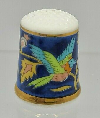 Collectable Porcelain Thimble with Flowers and Bird