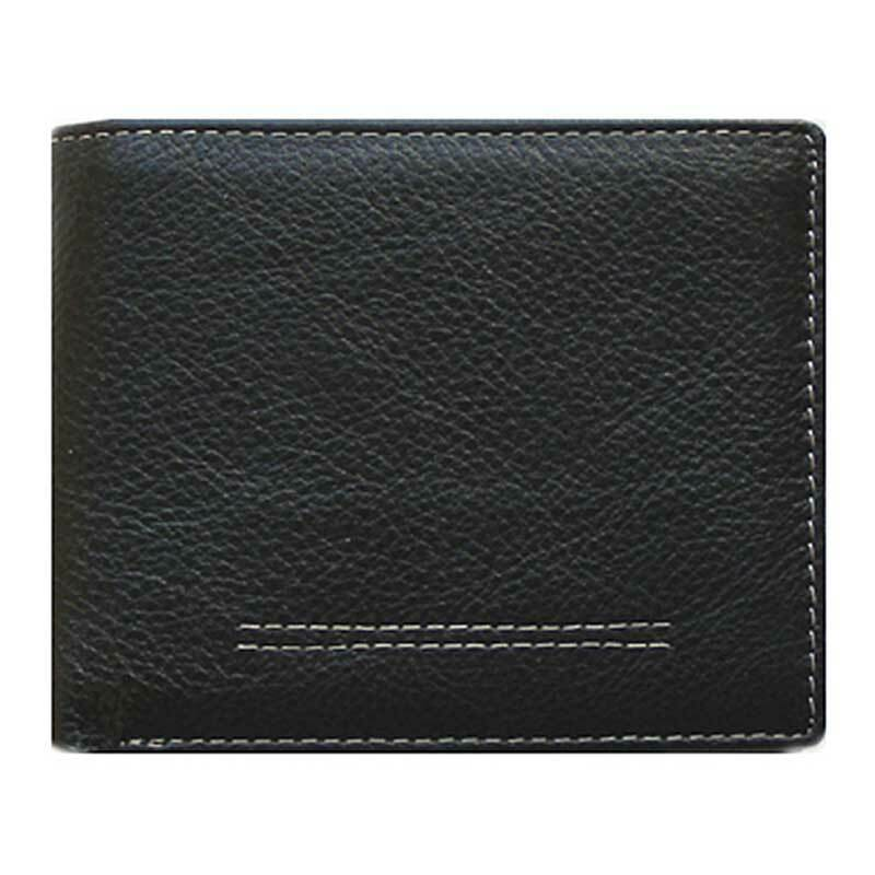 Classic Bi-Fold Black Genuine Leather Wallet ID Credit Card Holder SICILY