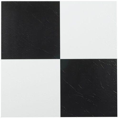 nexus black and white 12 x 12 inch self adhesive vinyl floor tile ebay. Black Bedroom Furniture Sets. Home Design Ideas