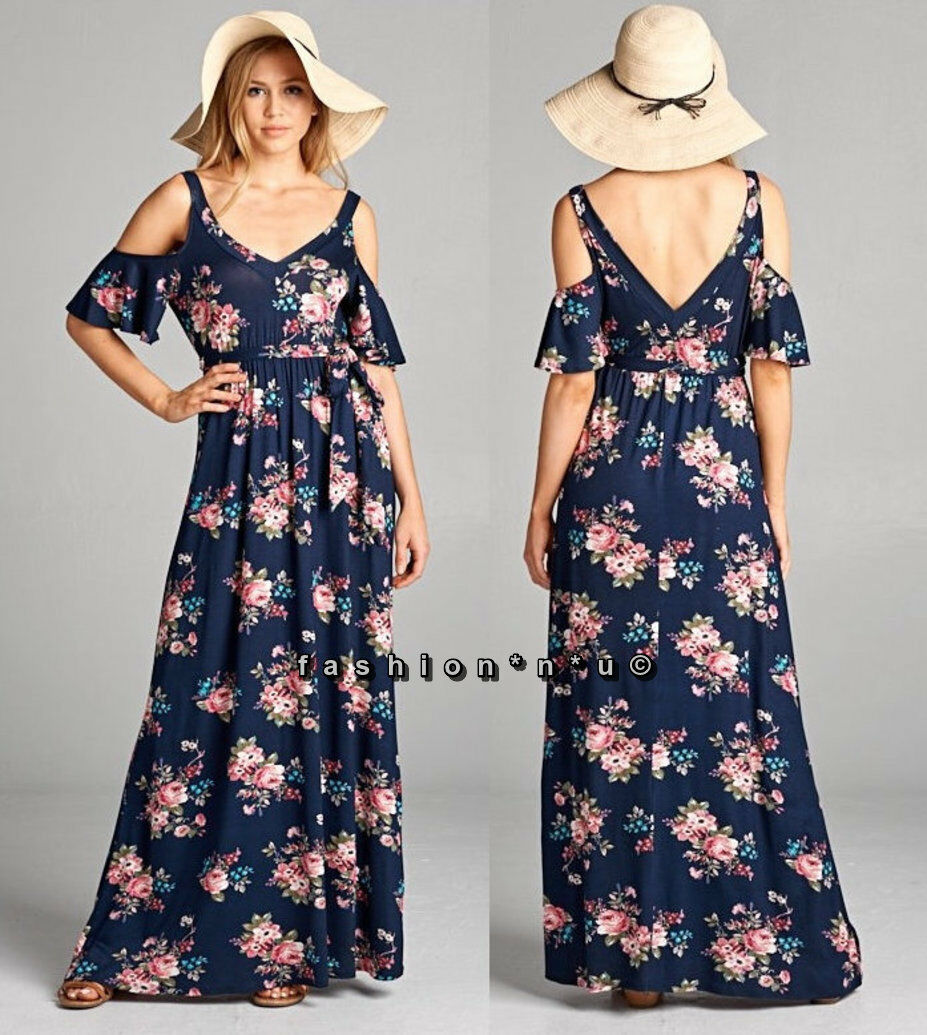 Plus Size Floral Boho Cold Shoulder Maxi Dress Navy bluee Pink