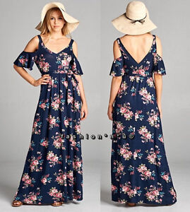 Plus Size Floral Boho Cold Shoulder Maxi Dress Navy Blue Pink | eBay