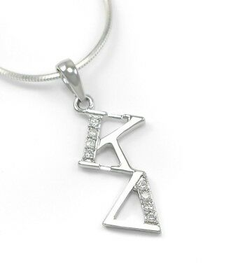 Kappa Delta sterling silver diagonal lavaliere with CZs / Sorority Necklace / KD