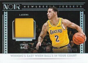 Lonzo Ball 2018-19 Panini Noir Newsreels Jerseys #30 /65 Lakers Game used !!!!