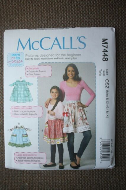 McCalls Easy Sewing Pattern M7448 Misses & Girls Aprons Learn to Sew ...