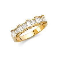 Square Princess Cut Diamond Baguette Wedding Band Bridal Ring 14k Yellow Gold