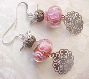 Lampwork-Earrings-Artisan-Handmade-Glass-Beads-Red-Pink-Bird-Watcher-Women-Gift