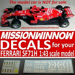 1-43-scale-F1-MISSION-WINNOW-2018-water-slide-DECALS-for-Bburago-LookSmart